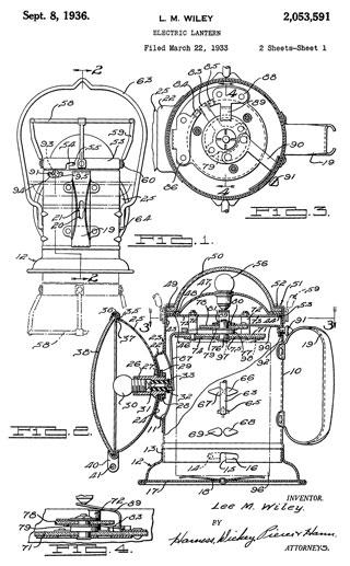 patent 2053591 Electric Lantern - Delta Railroad