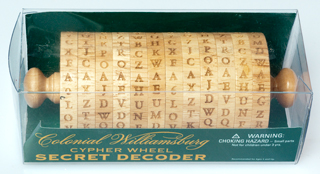 Colonial             Williamsburg Cypher Wheel Secret Decoder