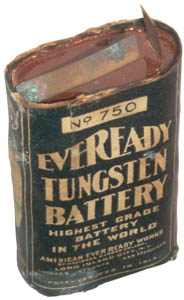Eveready No. 750 Pocket Flash Light Battery top