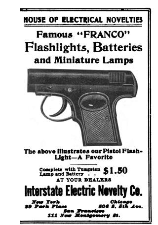 Franco Pistol Flashlight Interstate Electric Novelty