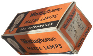 Box of 10 Westinghouse 1491 Lamps for the Navy Battle Lantern 9-S-5293-L, TYPE-JR-IS