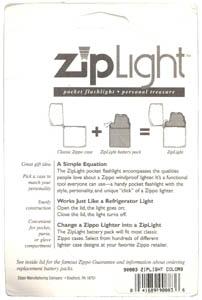 Zippo ZipLight package back