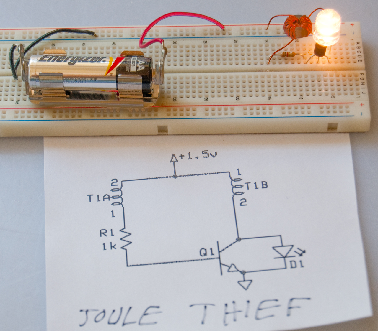 Joule Thief Single Cell Led Driver Efficient Works With Aa On Prototype Board